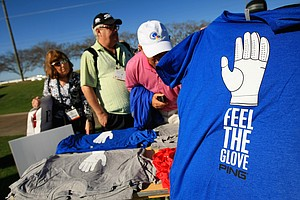 Ping and Bubba Watson have teamed with a glove which proceeds benefit the Bubba Watson Foundation. The shirt was being given away at the PGA Show Demo Day at Orange County National.