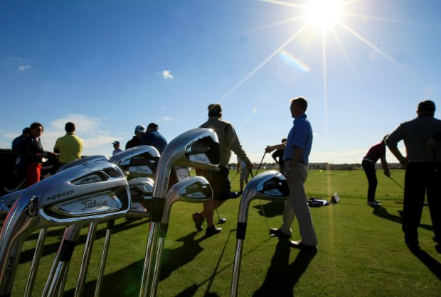 Titliest booth on the range at the PGA Show Demo Day at Orange County National.