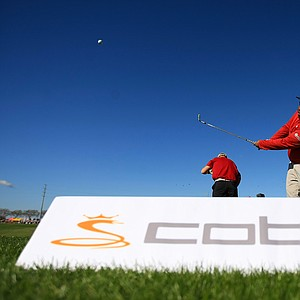 The Cobra Puma booth on the range at the PGA Show Demo Day at Orange County National.