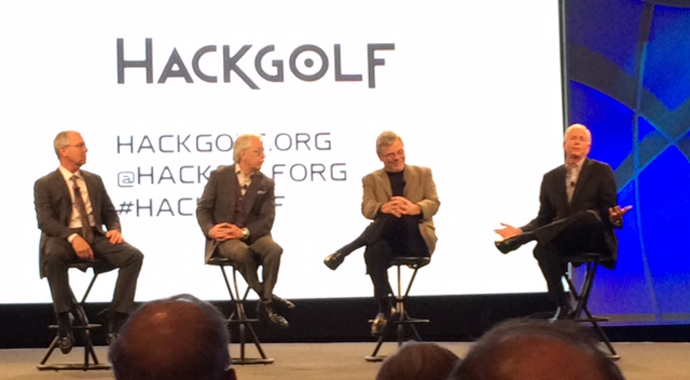TaylorMade chief executive Mark King (from left), noted business adviser Gary Hamel, National Golf Foundation chief executive Joe Beditz and PGA of America president Ted Bishop announce the Hack Golf effort to grow the game, coinciding with the 2014 PGA Merchandise Show in Orlando, Fla.