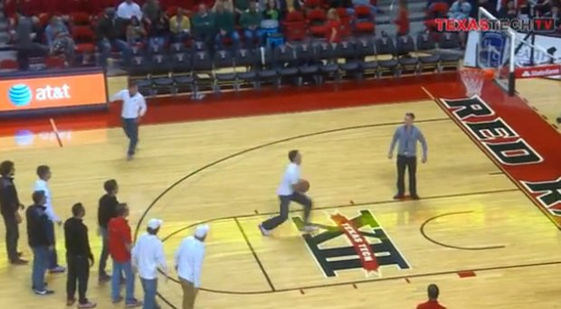 Junior Texas Tech golfer Tyson Turnbow took to the basketball court during halftime of the Tech game against Baylor on Jan. 15 to show that golfers can actually dunk.