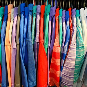 An assortment of colors and patters of golf shirts at Chase54 during the 2014 PGA Merchandise Show at the Orange County Convention Center.