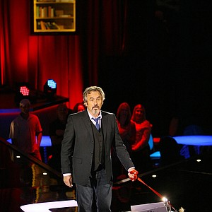 David Feherty at Universal's Sound Stage 20 running through a dress rehearsal for his live shows. The pig walked in as his mascot.