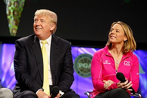 Donald Trump and Annika Sorenstam during the State of the Industry Panel on the PGA Forum Stage at the 2014 PGA Merchandise Show at the Orange County Convention Center.