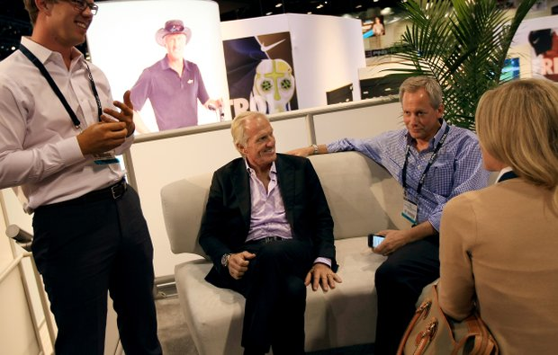 Greg Norman, center, attends an event at Cobra Puma event at the 2014 PGA Merchandise Show at the Orange County Convention Center.
