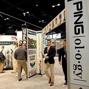 The Ping booth on the floor of the 2014 PGA Merchandise Show at the Orange County Convention Center.