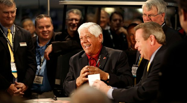 Lee Trevino at the Yamaha booth during the 2014 PGA Merchandise Show in Orlando, Fla.