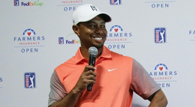 Tiger Woods on the eve of the PGA Tour's 2014 Farmers Insurance Open at Torrey Pines in La Jolla, Calif.