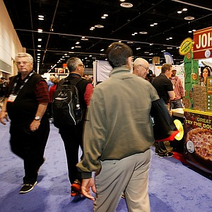 """John Daly Pizza """"Grip It and Eat It"""" at the 2014 PGA Merchandise Show at the Orange County Convention Center."""