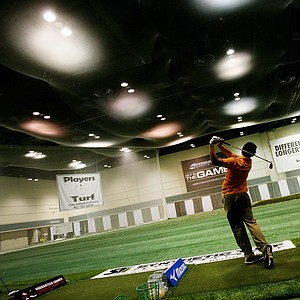 The Mizuno hitting bay at the 2014 PGA Merchandise Show at the Orange County Convention Center.