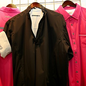 Chase54 apparel with its Sorono technology, recycled corn fiber attire at the 2014 PGA Merchandise Show at the Orange County Convention Center. The jacket is a reversible.