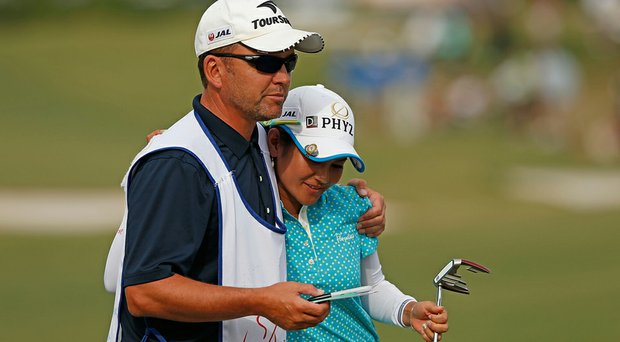 After eight years, Ai Miyazato is taking a break from caddie Mick Seaborn.