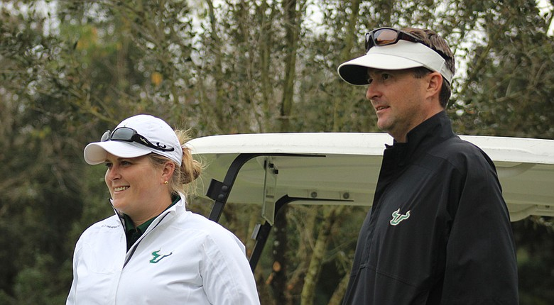USF golf head coaches Marci Kornegay, left, and Chris Malloy.