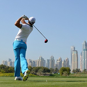 Rory McIlroy on the 8th tee during the first round of the Omega Dubai Desert Classic.
