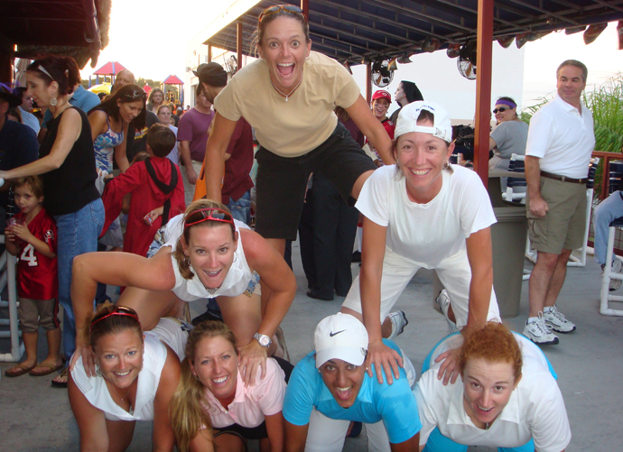 Danielle Downey having fun at a team event in 2007. Bottom row: Janell Howland, Beth Bauer, Salimah Mussani. Lisa Strom. Middle row: Kristy McPherson and Deuce (Downey). Top row: Jenny Gleason.