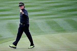 Bubba Watson reacts to making a birdie on the eighth hole during the second round of the Waste Management Phoenix Open at TPC Scottsdale.