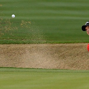 Patrick Reed plays a shot on the 12th hole at TPC Scottsdale during the second round of the Waste Management Phoenix Open.