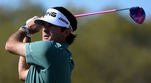 Bubba Watson plays a tee shot on the eighth hole during the third round of the Waste Management Phoenix Open.