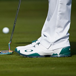 Bubba Watson plays a shot on the second hole during the third round of the Waste Management Phoenix Open.