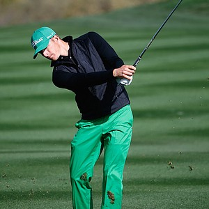 Morgan Hoffmann plays a shot on the second hole during the third round at TPC Scottsdale.