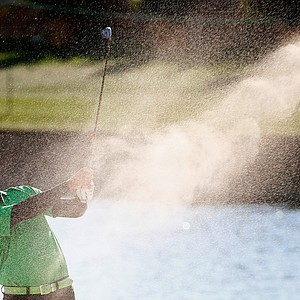 Pat Perez plays a shot on the 18th hole during the third round of the Waste Management Phoenix Open.