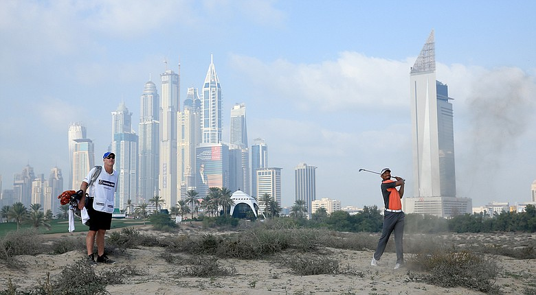 Tiger Woods during the third round of the Omega Dubai Desert Classic.