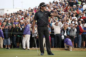Bubba Watson after missing a putt on the 18th that allowed Kevin Stadler to win the PGA Tour's 2014 Phoenix Open at TPC Scottsdale.