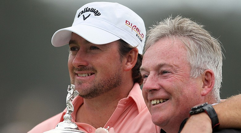 Graeme McDowell and his father, Kenny, celebrate after McDowell's 2010 U.S. Open victory at Pebble Beach. The McDowells will play together this week at the AT&T Pebble Beach National Pro-Am.