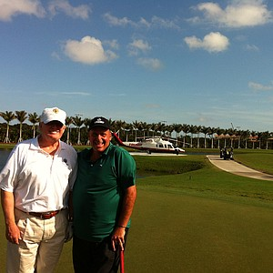 Donald Trump (left) played with Rocco Mediate on Wednesday at the new Doral.