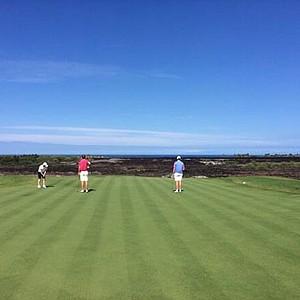 The Georgia Tech team on a golf course in Hawaii.