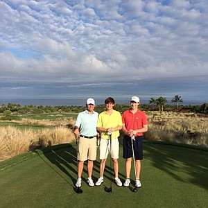 Georga Tech golf team standing on the Heolu golf course in Hawaii.