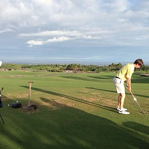 The Georgia Tech team practicing at the Hualalai golf course in Hawaii.