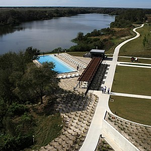 A view from the rooftop of the lodge at Streamsong looking toward Little Payne Creek.