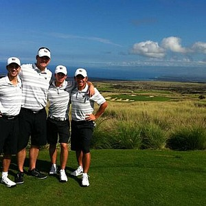 University of Washington Men's golf team posing for a photo at Nanea, Hawaii.