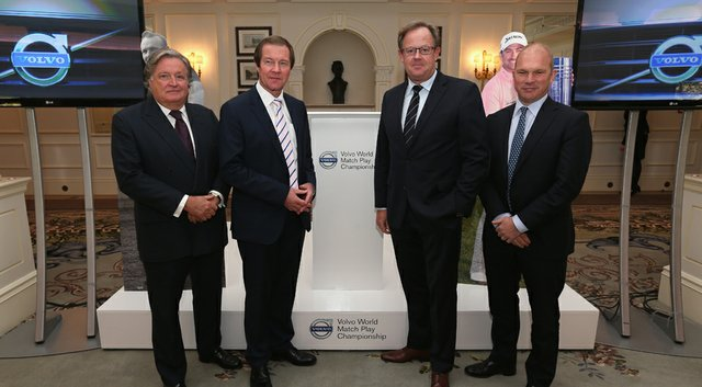 Charles Fairweather (left to right), chairman of London Golf Club, George O'Grady, chief executive of the European Tour, Per Ericsson, president of Volvo Event Management, and Guy Kinnings, IMG's global head of golf, announced that the Volvo World Match Play Championship will return to England and be played Oct. 15-19 at London Golf Club.