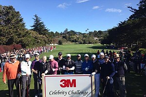 Celebrities getting ready to tee off at the AT&T Pebble Beach Pro Am Tournament