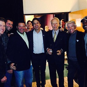 Musician Darius Rucker with actor Clint Eastwood, comedian Ray Romano, Tom Dreesen and Joe Don Rooney before the start of the 2014 AT&T Pebble Beach National Pro-Am.