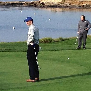 Peyton Manning and Bill Belichick playing a practice round before the 2014 AT&T Pebble Beach National Pro-Am.