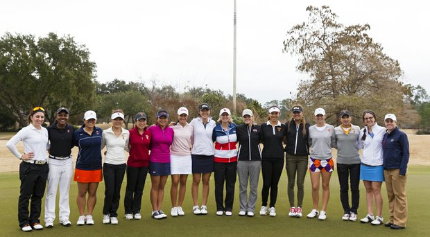 14 potential members of the 2014 Curtis Cup Team posed at Champions Golf Club in Houston for a pre-selection practice session.