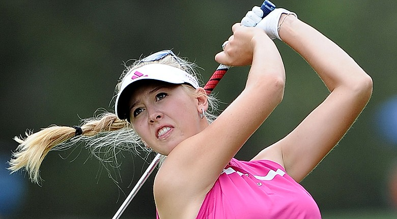 Jessica Korda plays an approach shot on the 18th hole of the Ladies Australian Masters during the first round.