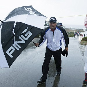 Daniel Chopra during a rainy first round of the PGA Tour's 2014 AT&T Pebble Beach National Pro-Am.