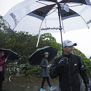 Jason Day during a wet first round of the PGA Tour's 2014 AT&T Pebble Beach National Pro-Am.