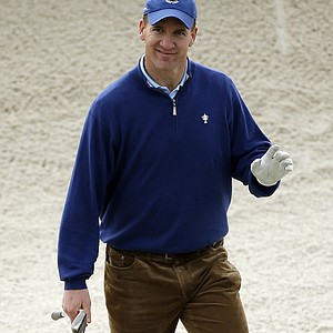 Quarterback Peyton Manning of the NFL's Denver Broncos during the second round of the 2014 AT&T Pebble Beach National Pro-Am.