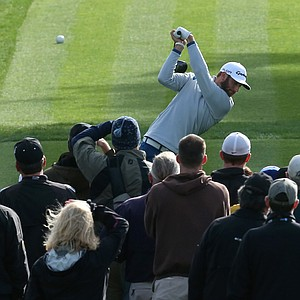 Dustin Johnson during the third round of the AT&T Pebble Beach National Pro-Am.