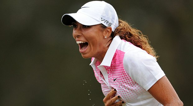 Cheyenne Woods celebrates winning the 2014 Australian Ladies Masters at Royal Pines Resort.