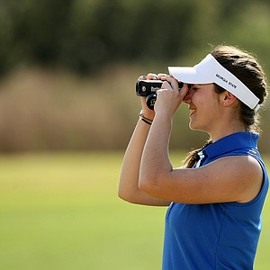 Solene LeCoz of Georgia State University uses her rangefinder during the UCF Challenge at Eagle Creek Golf Club.
