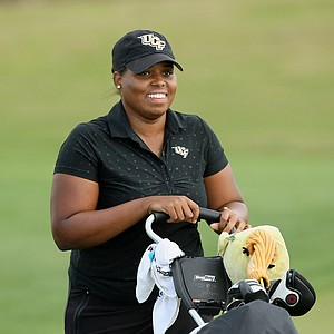 Monifa Sealy of UCF nearly holes out during the UCF Challenge at Eagle Creek Golf Club.