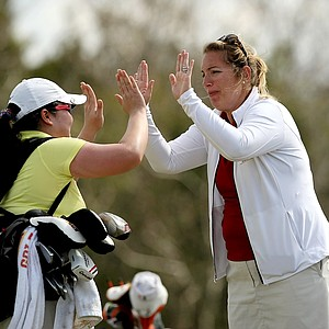 Iowa State head coach Christie Martens with Sasikarn On-iam during the UCF Challenge at Eagle Creek Golf Club.