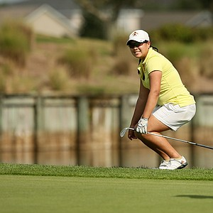 Chonlada Chayanun of Iowa State narrowly misses her putt at No. 18  during the UCF Challenge at Eagle Creek Golf Club.