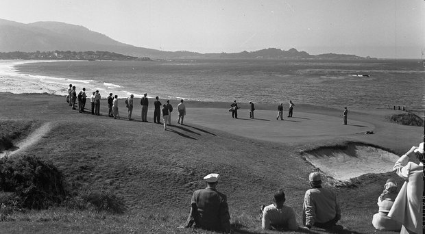 Pebble Beach's ninth green as it appeared in the 1961 U.S. Amateur, with the 10th tee to the right